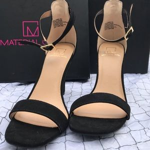 NWOT Material Girl Black Suede heeled sandal